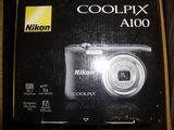 Aparat foto digital, Nikon COOLPIX A100, 20,1 Mpx, zoom 10x, negru, NOU, cu toate accesoriile in cut