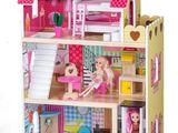 Новый деревянный кукольный домик+18 предметов мебели  + лифт+ 2 куклы в комплекте! Польша-завод!