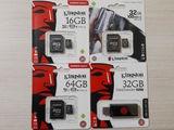 Kingston MicroSD (16GB-140lei,32GB-180lei,64GB-290lei) & Flash USB 32GB-180lei. Originale. Botanica.