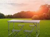 Раскладной стол 120 см - 60 см и стулья в чемоданчике, зонт и 4 стульчика
