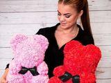 Мишка из алых 3D роз в подарочной упаковке медведь Тедди