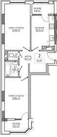2-комнатная 62.61 м2