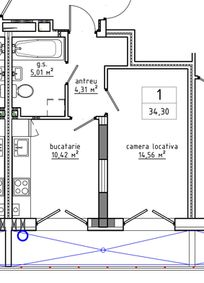 1-комнатная 34.3 м2