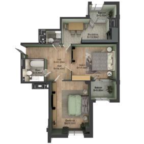 2-комнатная 81 м2