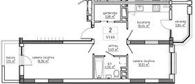 2-комнатная 57.45 м2