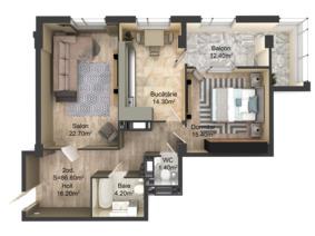 2-комнатная 86.6 м2