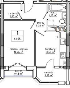 1-комнатная 41.55 м2