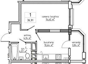1-комнатная 36.91 м2