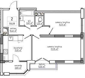 2-комнатная 59.09 м2