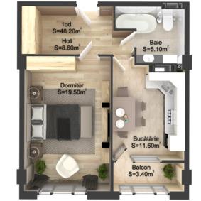 1-комнатная 48.2 м2