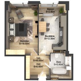 1-комнатная 45.8 м2