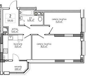 2-комнатная 59.03 м2