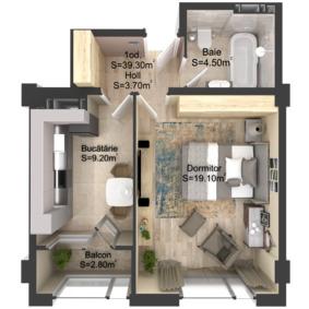 1-комнатная 39.3 м2