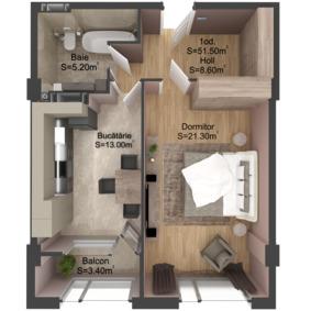 1-комнатная 51.5 м2