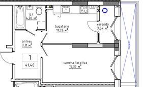 1-комнатная 41.4 м2