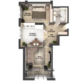 2-комнатная 63.4 м2