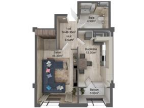 1-комнатная 46.3 м2