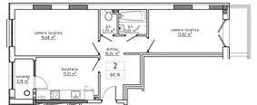 2-комнатная 60.16 м2