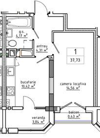 1-комнатная 37.73 м2