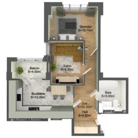 2-комнатная 52.3 м2