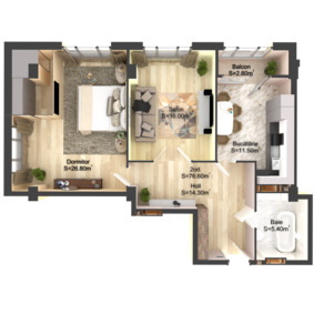 2-комнатная 76.6 м2