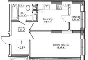 1-комнатная 40.57 м2
