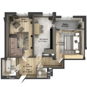 2-комнатная 79.4 м2