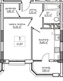 1-комнатная 41.07 м2