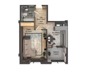 1-комнатная 47.5 м2