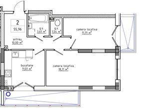 2-комнатная 55.96 м2