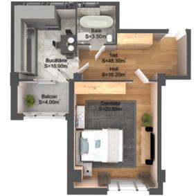 1-комнатная 48.3 м2
