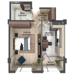 1-комнатная 42.9 м2