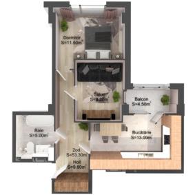 2-комнатная 53.3 м2