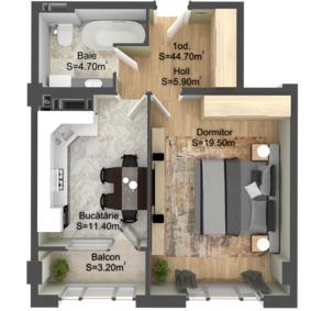 1-комнатная 44.7 м2