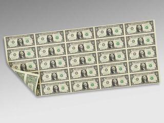 Cadou original! лист банкнот сша номиналом 1$ (25 шт. на листе)