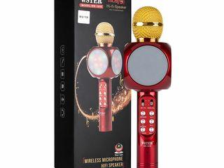 Микрофон модель WS-1816 портативный много функциональный + света музыка