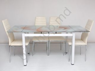 Set masă cu scaune  dp et-01 + crom-117(cream) în credit cu livrare gratuită !