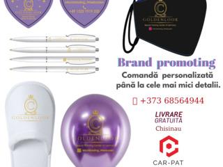 Materiale promoționale. Brand promoting: cărți de vizită, notebook-uri, pixuri, măști, Baloane, etc.