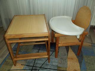 Столик со стульчиком для кормления деревянный