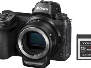 Aparat foto mirrorless Nikon Z6 + FTZ Adapter Kit + 64GB XQD
