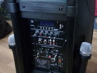 Boxa activa ,,eurocraft'' cu acumulator si 2 microfoane din germania !!!  noua in cutie
