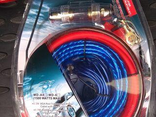 Новый комплект проводов 230 лей для подключения сабвуфера 2500 ватт, Усилитель Toxic 1000 ватт
