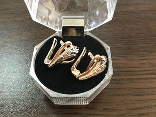 Cercei, aur rosu + alb, 585; 3,43 gr = 1800 lei !