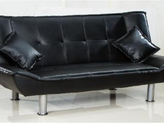 canapea pat din eco piele negru 3500 lei cu livrare