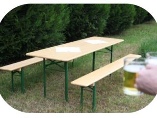 Masă cu 2 scaune în set, nou din lemn natural - la CIMITIR, lîngă casă, la vilă, saună! L= 2,20 m!!!