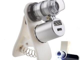 Микроскоп 2-в-1  лупа+ УФ детектор, компактный, для мобильных!