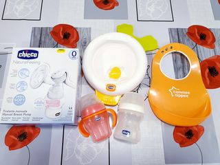 Storcător lapte,  farfurie termică, 2 sticluțe Chicco + bavetă silicon tommee tippee, baby monitor.