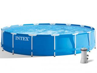 Бассейн 11325л 457х84см Intex Metal Frame Pool