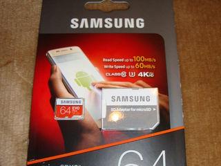 Micro SD XC Samsung Plus 64 Gb, produs in Philippines pentru Europa, nou,sigilat.