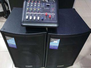 Aparatura ,700 w,  amplificator- mixer  , boxe,cabluri, tot la 7000 lei !!!